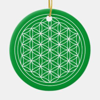 Blume des Leben-Grün-Kreises Keramik Ornament