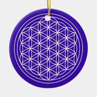 Blume des Leben-Indigo-Kreises Keramik Ornament