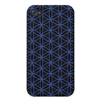 Blume des Leben-Musters - Blau auf Schwarzem iPhone 4 Hülle