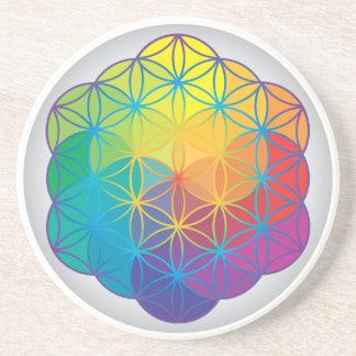 Blume des Leben-Regenbogens färbt Harmonie-Energie Getränkeuntersetzer