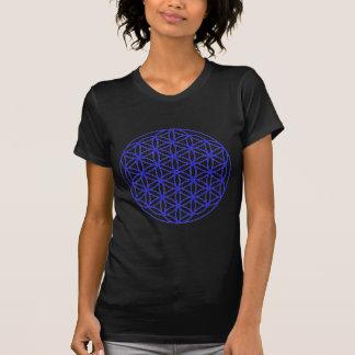 Blume des Leben-Single-Blaus T-Shirt