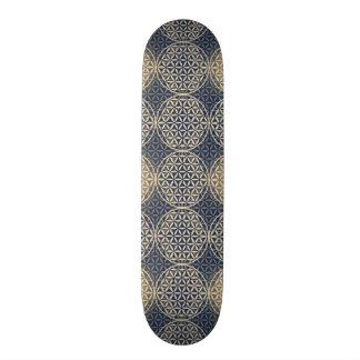 Blume des Lebens - Briefmarkenmuster - blauer Sand 19,7 Cm Skateboard Deck