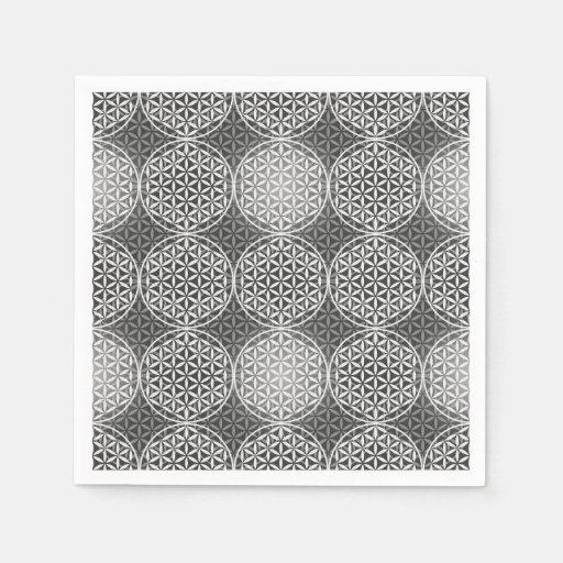 Blume des Lebens - Briefmarkenmuster - Grau Papierservietten