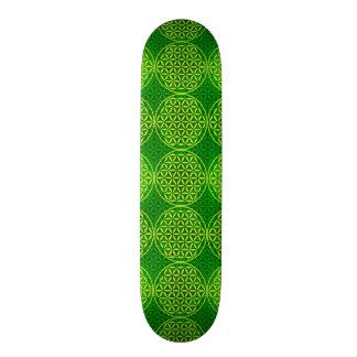 Blume des Lebens - Briefmarkenmuster - Grün 19,1 Cm Old School Skateboard Deck