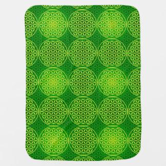 Blume des Lebens - Briefmarkenmuster - Grün Babydecke