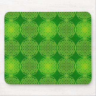 Blume des Lebens - Briefmarkenmuster - Grün Mauspads