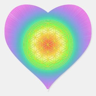 Blume des Lebens Chakra 1 Herz-Aufkleber