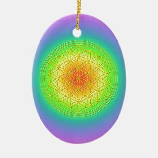 Blume des Lebens Chakra 1 Ovales Keramik Ornament