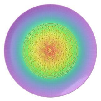 Blume des Lebens Chakra Farben Flacher Teller