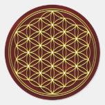 Blume des Lebens -Flower of life - Gold Runder Sticker