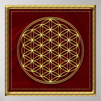 Blume des Lebens - Flower of life - Gold Poster