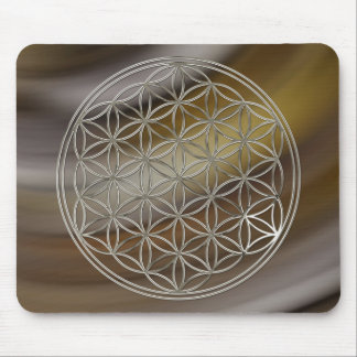 Blume des Lebens / Flower Of Life | silver brown Mousepad