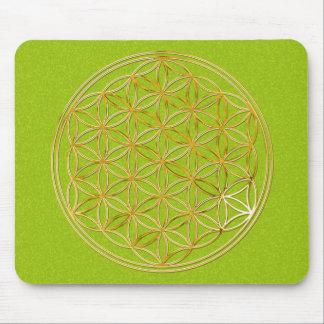 Blume des Lebens / gold big green splatter BG Mousepad
