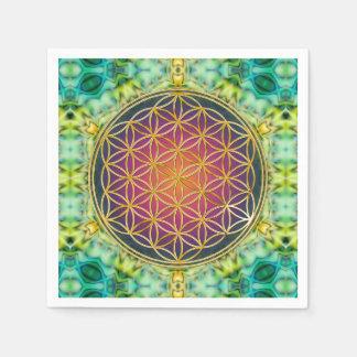 Blume des Lebens - Gold - Fraktal 2 Papierserviette