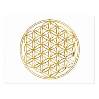 BLUME DES LEBENS - Gold Postkarte