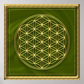 Blume des Lebens - grün - gold Poster