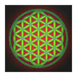 Blume des Lebens - Grün im Morgenrot Gespannte Galeriedrucke