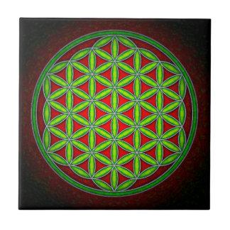 Blume des Lebens - Grün im Morgenrot Kleine Quadratische Fliese