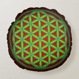 Blume des Lebens - Grün im Morgenrot Rundes Kissen