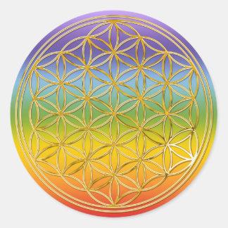 Blume des Lebens | klein chakren coloured BG Stickers