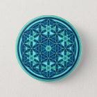 Blume des Lebens - Knopf-Art 01 Runder Button 5,7 Cm