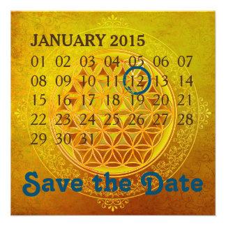 Blume des Lebens - kundenspezifischer Kalender Quadratische 13,3 Cm Einladungskarte