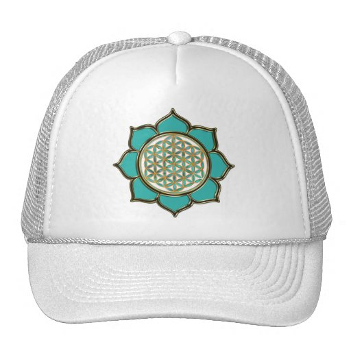 Blume DES Lebens Lotus türkis Mütze