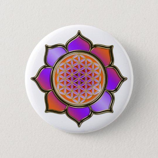 Blume des Lebens Lotus - violet orange / trans. Runder Button 5,7 Cm