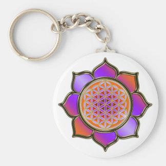 Blume des Lebens Lotus - violet orange / trans. Schlüsselanhänger