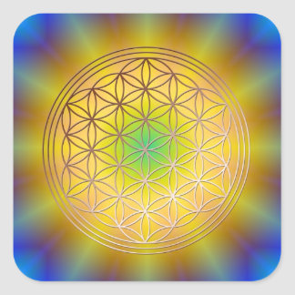 Blume des Lebens Motiv 10 Quadratischer Aufkleber