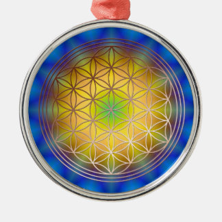 Blume des Lebens Motiv 10 Silbernes Ornament