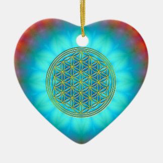 Blume des Lebens Motiv 11 Keramik Herz-Ornament