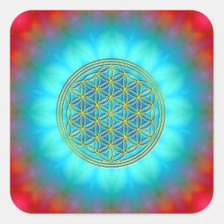 Blume des Lebens Motiv 11 Quadratischer Aufkleber