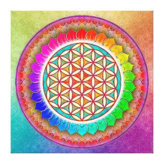 Blume des Lebens - Regenbogenlotos I Leinwanddruck