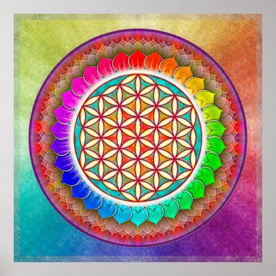 Blume des Lebens - Regenbogenlotos I Poster