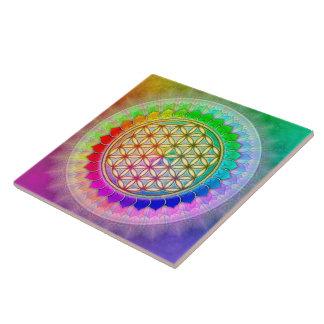 Blume des Lebens - Regenbogenlotos II Große Quadratische Fliese