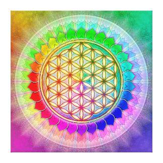 Blume des Lebens - Regenbogenlotos II Leinwanddruck