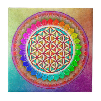 Blume des Lebens - Regenbogenlotos Kleine Quadratische Fliese