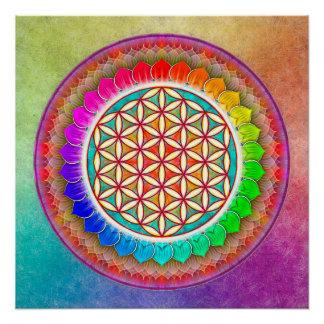 Blume des Lebens - Regenbogenlotos Perfektes Poster