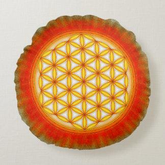 Blume des Lebens - Sonne II Rundes Kissen
