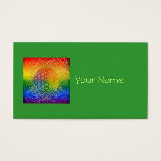 Blume des Lebens - Verzierungs-Regenbogengold Visitenkarten