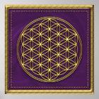 Blume des Lebens - violett / gold Poster