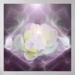 Blume des weißen Lotos im Kristall Posterdrucke