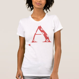 Blume gemusterter Buchstabe A (Rot u. Punkte) T-Shirt