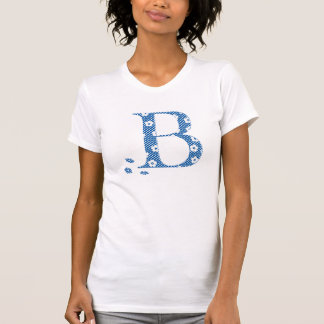 Blume gemusterter Buchstabe B (Blau u. Punkte) T-Shirt