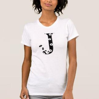 Blume gemusterter Buchstabe J T-Shirt