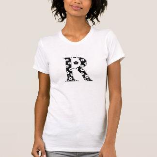 Blume gemusterter Buchstabe R T-Shirt