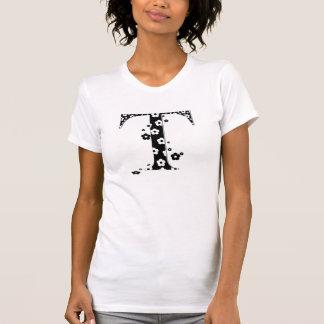 Blume gemusterter Buchstabe T T-Shirt