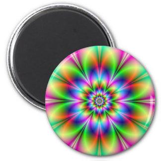 Blume im Neonmagneten Runder Magnet 5,1 Cm