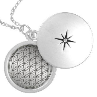 Blume metallischen Silbers Leben Blume DES Lebens Versilberte Kette
